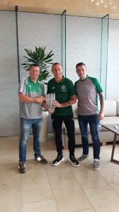 Neville Carolan and Eoin McGuinness present the AICSC 2017 - 2018 Player of The Year Award to Scott Brown