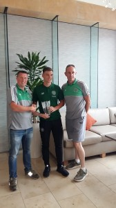 Neville Carolan and Jim Kelly present the AICSC 2017 - 2018  Young Player of The Year Award to Kieran Tierney
