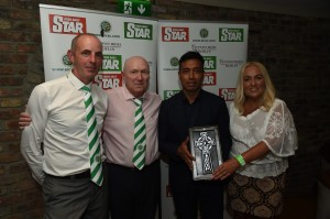 Bobby Petta receives a gift from AICSC committee members  Jim Kelly, Gerry Gielty and Maria Foy.