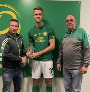 AICSC Secretary Neville Carolan and Assistant Chairman Gerry McDonnell present the 2018 - 2019 AICSC Young Player of The Year award to Krisroffer Ajer.
